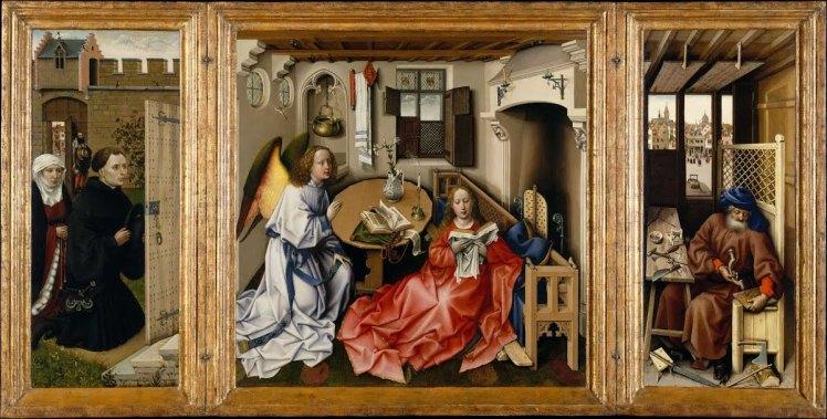 Robert Campin Annunciation Altar triptych 1428